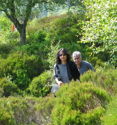 The Honorable Prime Minister of Sri Lanka and his wife enjoy a peaceful walk in Glen Affric